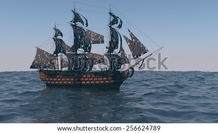 ship in the ocean with torn black sales