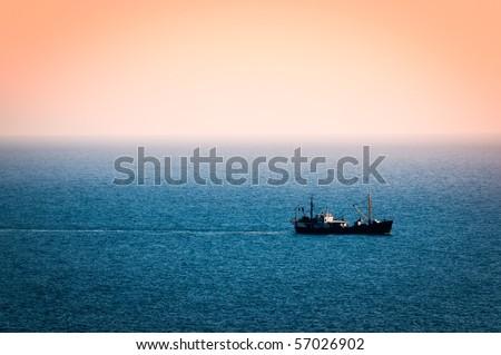 ship in the sea - stock photo