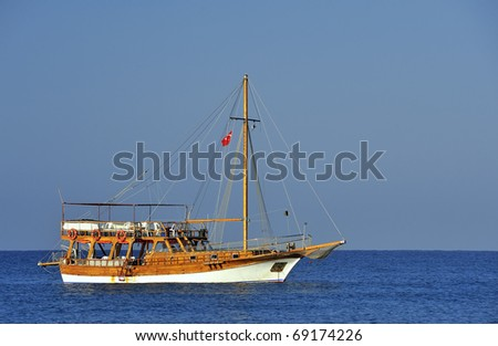 Ship in the sea from Turkey in summer - stock photo