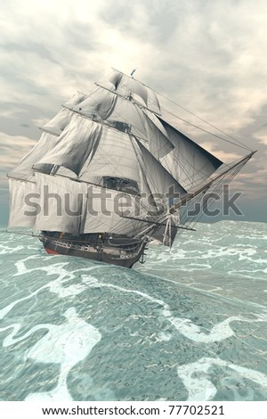 ship in the storm sea - stock photo