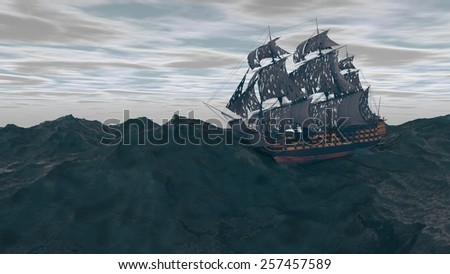 ship in the stormy ocean - stock photo