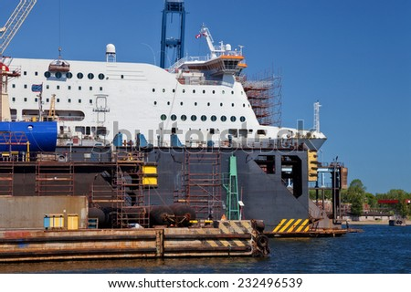 Ship is being renovated in shipyard Gdansk, Poland. - stock photo