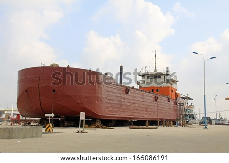 ship is built in a dock, north china