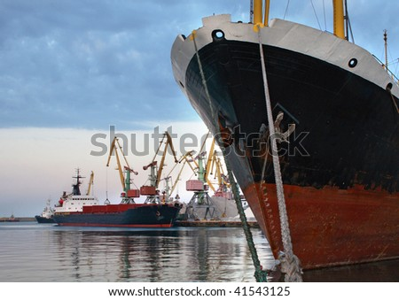 ship is in port - stock photo