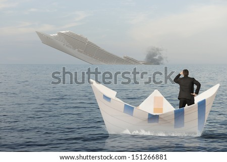 Ship is sinking into the sea. Concept of business crisis - stock photo