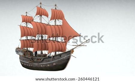 ship isolated on white - stock photo