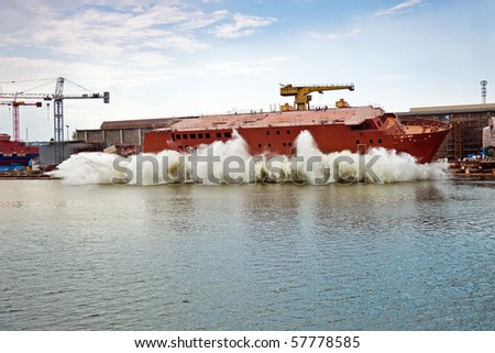 Ship launching in the Northern Shipyard in Gdansk, Poland.