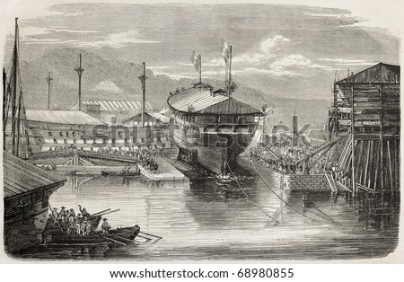 Ship launching: screw vessel La Guerriere, in Brest harbour, France. From drawing of Lebreton after photo of Mangel Dumensil, published on L'Illustration, Journal Universel, Paris, 1860 - stock photo