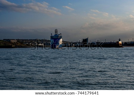 Ship Leaving Aberdeen Harbour.