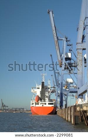 ship loading at felixstowe docks UK - stock photo