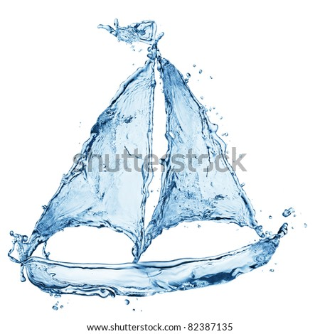 ship made out of water splashes isolated on white - stock photo
