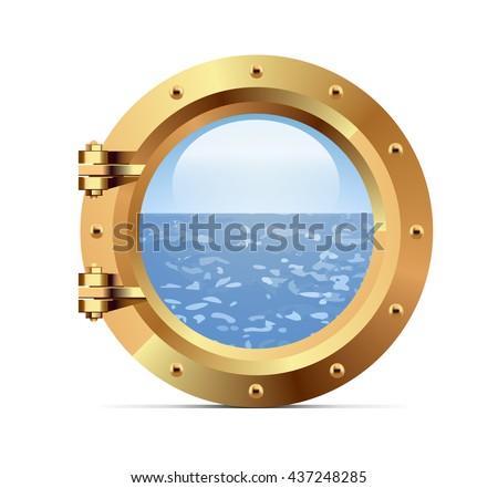 Ship metal porthole on white background - stock photo