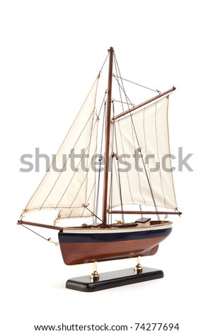 ship model isolated on white background - stock photo