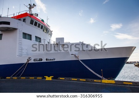 Ship mooring - view of a bow