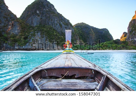 Ship Nose Front View Long tail boat at Phi Phi Islands sea Asia Thailand - stock photo