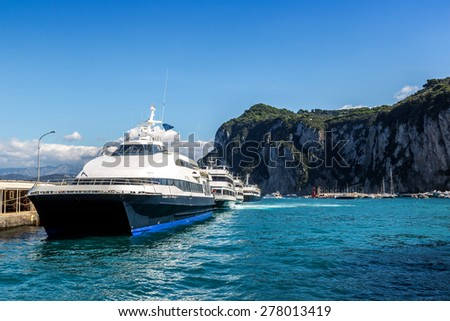 Ship on a Capri island in a beautiful summer day in Italy - stock photo