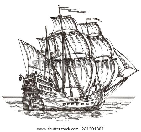 ship on a white background. sketch. illustration - stock photo