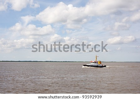 Ship on river Elbe, Germany