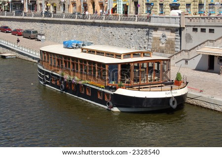 Ship on river in Prague, Czech Republic