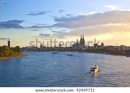 ship on river Rhein by Cologne in Germany