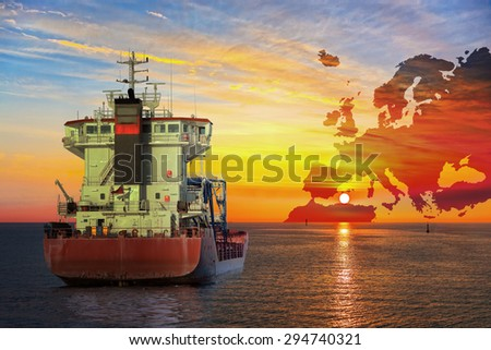 Ship on sea and Europe map background - shipping travel concept. - stock photo