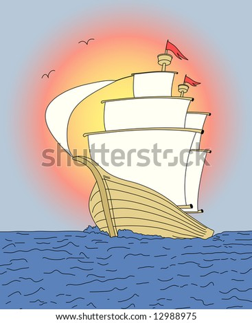 "Ship on sunset sky. Vector version of this image (""*.eps"") also available in my portfolio. - stock photo"