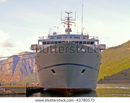 ship on the fjord - stock photo