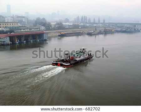 Ship on the river