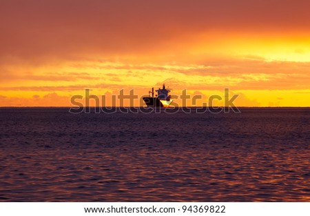 Ship on the sea, Trieste - stock photo