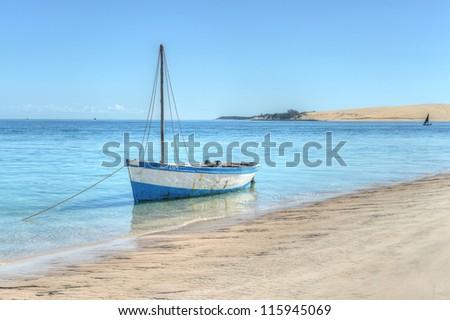 Ship on the shores of Bazaruto Island - stock photo