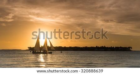 Ship on the sunset at key west, Florida, USA - stock photo