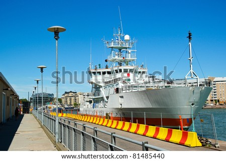 Ship parking at the Helsinki harbour in Finland - stock photo