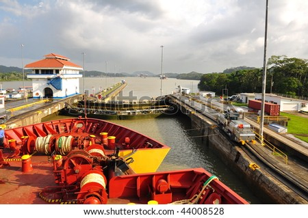 ship passes through a sluice in the Panamanian channel - stock photo