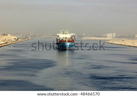 Ship passing through the Suez Canal - stock photo