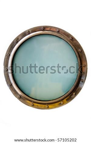 Ship porthole isolated over white - stock photo