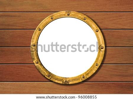ship porthole on wooden wall isolated - stock photo