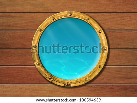 ship porthole with underwater view - stock photo