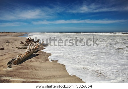 Ship remains, Skeleton Coast, Namibia - stock photo
