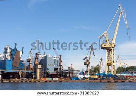 Ship Repair yard of Gdansk. - stock photo