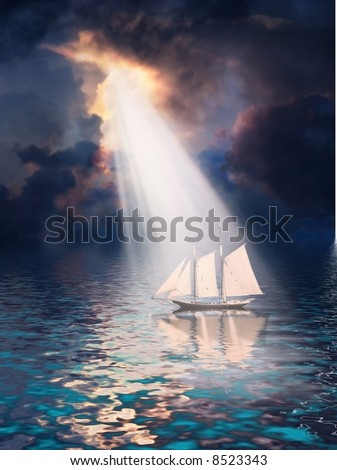 Ship revealed by shaft of light from stormy tropical sky - stock photo
