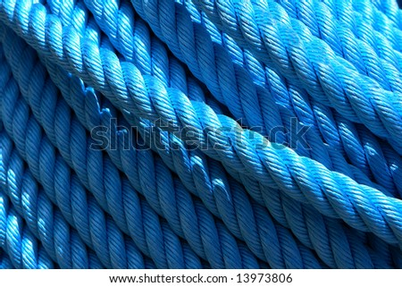 Ship rope in the port of Jaffa - stock photo