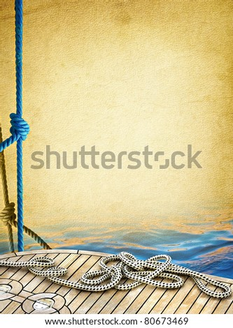 Ship rope on the old paper background. Sailboat ropes and wooden deck of the sea - vintage textured background. Marine design frame with elements of yachting. - stock photo