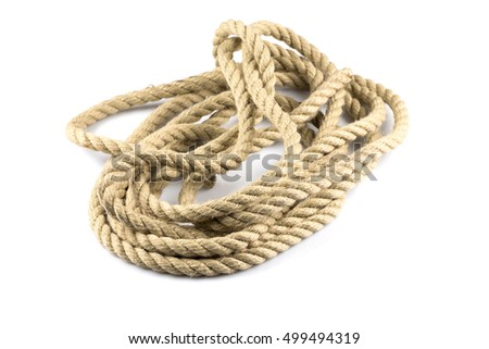 ship ropes with knot isolated background