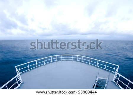 Ship's bow in cloudy day - stock photo