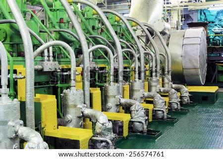 Ship's engine room - stock photo