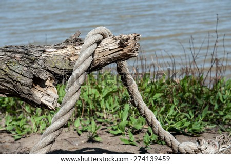 Ship's mooring rope rests draped over a piece of driftwood on the river's shore. - stock photo