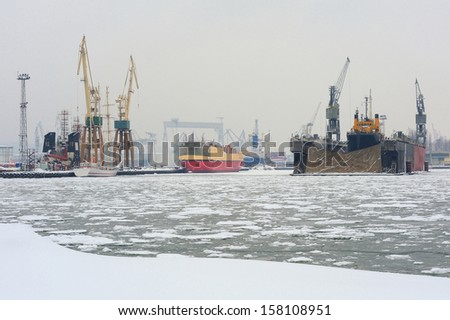 Ship to dock at the shipyard in Gdynia, Poland. - stock photo