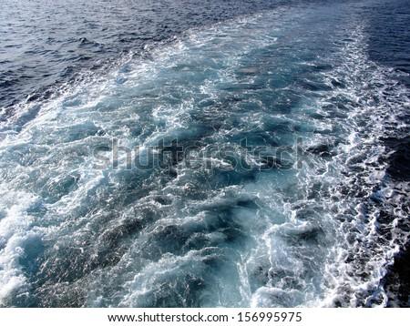 Ship trace - stock photo