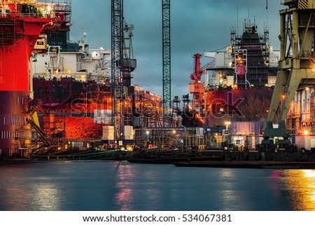 Ship under construction at night in Gdansk, Poland.