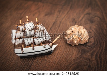 ship vessel boat craft battleship frigate sink marine oceanic wooden floor - stock photo